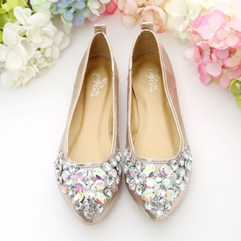Rose Gold Crystal Style Cinderella Loafers